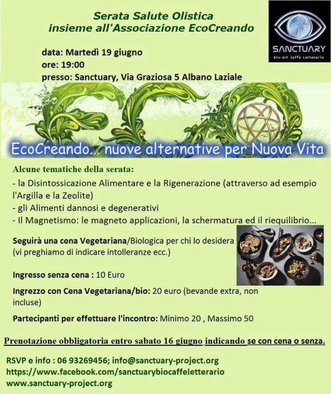 """Eco Creando – EVENTO """" Disintossicazione Alimentare e la Rigenerazione """""""