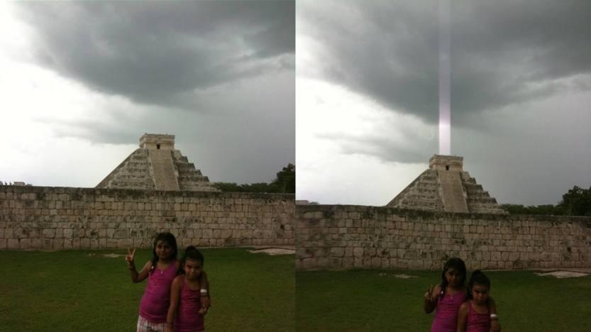 piramide messicana con raggio